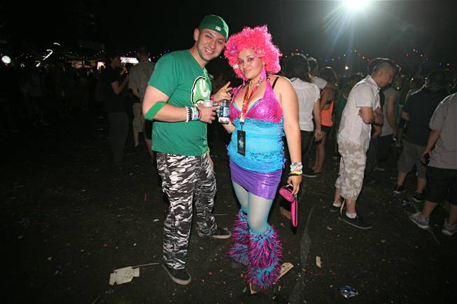 Fans show off their elaborate, over-the-top style at the Electric Daisy Carnival at Las Vegas Motor Speedway on Sunday, June 10, 2012.
