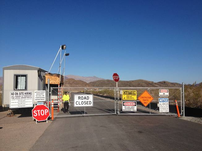 A road near a reported tunnel accident near Lake Mead is closed Monday, June 11.