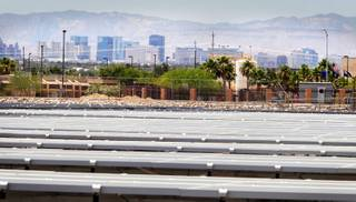 A 25-acre solar panel project is being built by the City of Las Vegas next to the Water Pollution Control Facility on the east side of town on Tuesday, June 12, 2012.