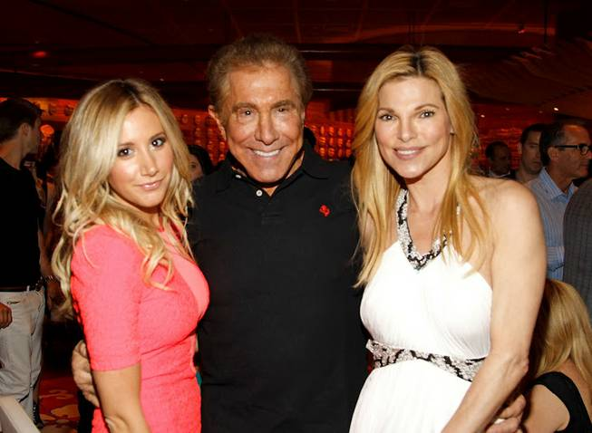 Ashley Tisdale, Steve Wynn and Andrea Wynn at the grand-opening party for Mizumi at the Wynn on Thursday, June 7, 2012.