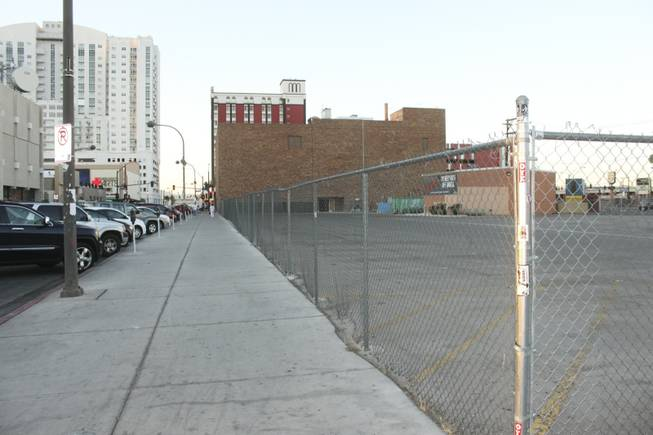 A view of the parking lot behind the future home of the Fremont Country Club, a music venue, and Triple B., a bar and billiard's lounge, located at at 601 E. Fremont St. across from El Cortez as seen on Tuesday, June 19, 2012.