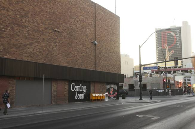 The brick building on the left located at 601 E. Fremont St. across from El Cortez is set to be the future home of the Fremont Country Club, a music venue, and Triple B., a bar and billiard's lounge, as seen on Tuesday, June 19, 2012.