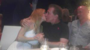 Andrea and Steve Wynn kiss at the grand-opening party for Mizumi in the Wynn on Thursday, June 7, 2012.