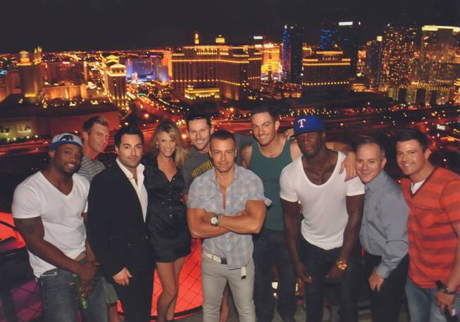 Joey Lawrence, center, with Chippendales and guests at VooDoo Lounge ...