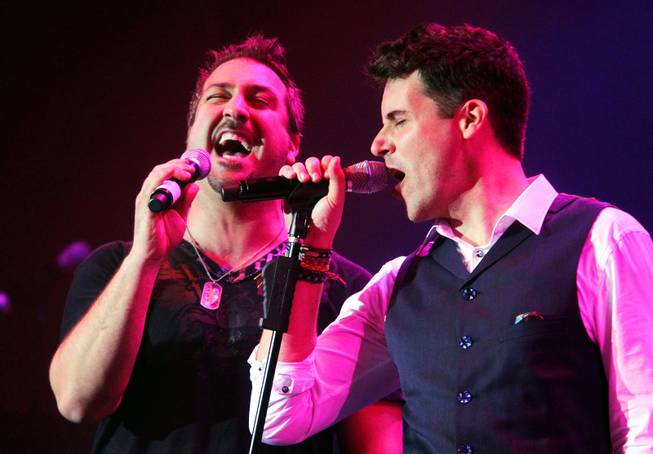Joey Fatone, left, performs with Frankie Moreno during his 100th show at the Stratosphere on Wednesday, June 13, 2012.