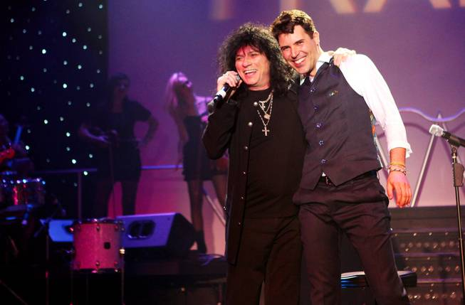 Paul Shortino performs with Frankie Moreno during his 100th show at the Stratosphere on Wednesday, June 13, 2012.