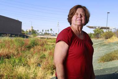 Nancy Menzel is a board member at the Southern Nevada Health District and an associate professor of nursing at UNLV. Seen here in a flood control wash near Flamingo Road and Swenson Street, where health district officials have seen homeless people, Menzel says she's frustrated with the district's struggle to stay on top of public health problems.