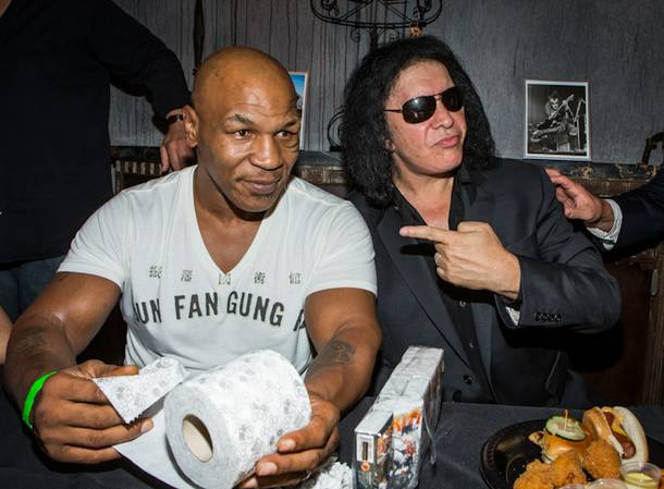 Mike Tyson and Gene Simmons at KISS by Monster Mini Golf on Wednesday, June 13, 2012, in Las Vegas.