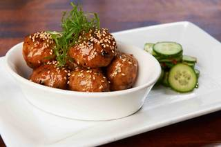 Japanese-style chicken meatballs at Sammy's Woodfired Pizza.