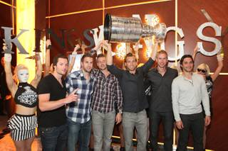The L.A. Kings celebrate their first Stanley Cup victory at Hyde Bellagio on Friday, June 15, 2012.