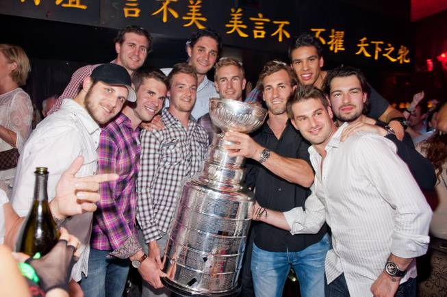 The L.A. Kings celebrate with the Stanley Cup at Tao in The Venetian on Thursday, June 14, 2012.
