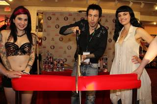 Belladonna, Joanna Angel and Phil Varone at Deja Vu Adult Emporium in Las Vegas on Saturday, June 16, 2012.