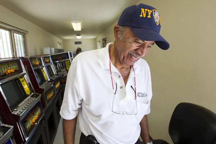 Walter Jones, a United Coin Machines slot technician, smiles at the end of his shift after running a temporary casino on the site of the historic Moulin Rouge casino on Bonanza Road Tuesday, June 19, 2012. The casino, the first integrated casino in Las Vegas, opened in May 1955 but closed in October of the same year. The temporary casino is held on the site every two years to preserve the gaming license to the property.