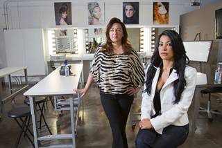 Makeup artists Wendy Robin and Lissette Waugh pose after a news conference at the L Makeup Institute in the Holsum Lofts Tuesday, June 19, 2012. The pair, with help from the Institute for Justice law firm, have filed a federal lawsuit against the Nevada Board of Cosmetology. The board doesn't require makeup artists to get cosmetology licenses but requires makeup artist instructors to get licenses to teach cosmetology, they said.