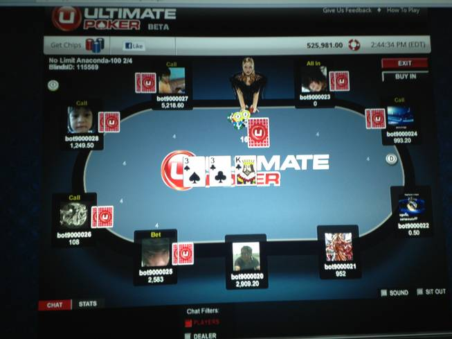A screen shot of the new Ultimate Poker game being launched on Facebook Friday, June 22, 2012, by Las Vegas company Fertitta Interactive as seen demonstrated on Tuesday, June 19, 2012.