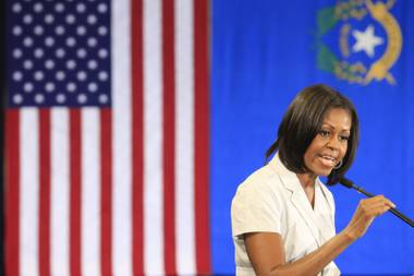 First lady Michelle Obama speaks to campaign volunteers during a stop in Henderson Tuesday, June 19, 2012.