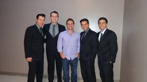 "Drew Lachey, center, with ""Jersey Boys"" stars Douglas Crawford, Rob Marnell, Deven May and Graham Fenton at the Paris."