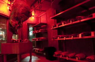A view of the dry aging room at The Steak House at Circus Circus, Thursday, June 21, 2012.