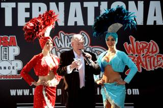 Former Mayor Oscar Goodman toasts the return of the USA & World Hip Hop Dance Championships during a media preview at Fremont Street Experience on Thursday, June 21, 2012.