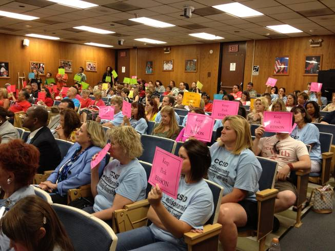 "More than a hundred people, including many teachers, attended the School Board meeting Thursday, June 21, in which the board decided to renew a $7.6 million contract with EdisonLearning Inc. The teachers wore T-shirts that read ""CCSD + EdisonLearning = A winning partnership."""