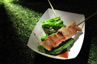 A dish of grilled Kurobata pork cheeks from Raku is seen at the Las Vegas incarnation of the Lucky Rice food festival Saturday, June 23, 2012, at the Cosmopolitan.