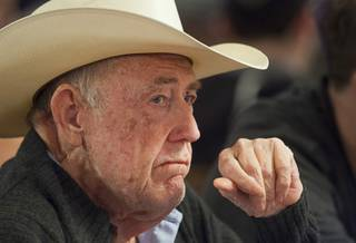Poker legend Doyle Brunson competes during the opening day of the World Series of Poker $50,000 Poker Players' Championship tournament at the Rio Sunday, June 24, 2012.