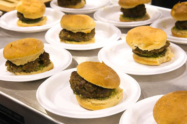 Italian pub burgers are displayed ConAgra Mills booth at the IFT Food Expo at the Las Vegas Convention Center, June 25, 2012. The burgers have Sustagrain Flakes in the meat and Ultragrain whole wheat flour in the bun for added fiber. New techniques have lead to whole wheat products that taste more like products made with white flour, a representative said.