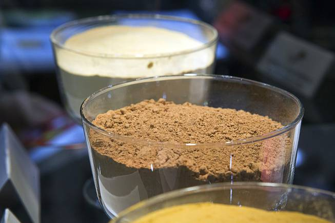 Powdered Chocamine powder is displayed at the RFI booth during the IFT Food Expo at the Las Vegas Convention Center, June 25, 2012. Chocamine is a cocoa-based product that has been shown to improve concentration, short-term memory and visual-motor response in clinical studies.