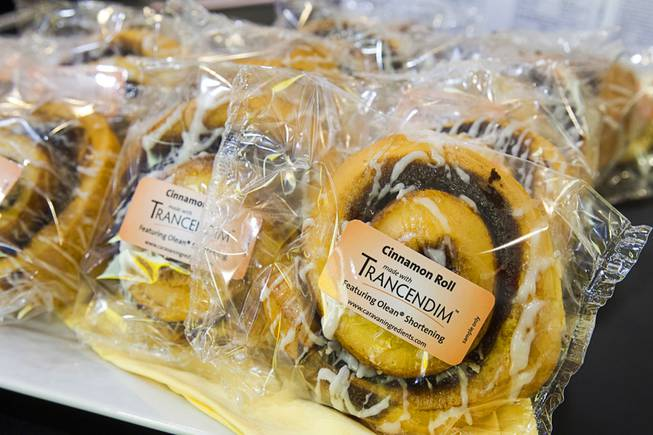 Cinnamon Rolls with reduced calories and reduced saturated fat are displayed at the Caravan Ingredients booth during the IFT Food Expo at the Las Vegas Convention Center, June 25, 2012. The ingredient Trancendim allows bakers to use healthier oils instead of traditional shortening.