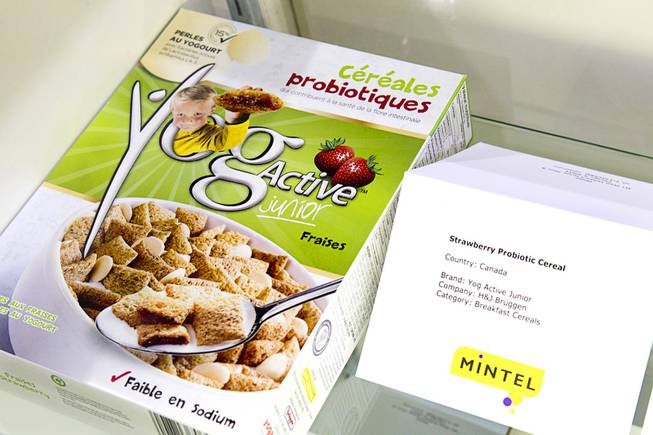 A Canadian breakfast cereal by H&J Bruggen with probiotics is displayed during the IFT Food Expo at the Las Vegas Convention Center, June 25, 2012.