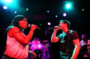 "Jeff Timmons rehearses for his new show ""Wired"" with singer Tymara Walker at Ovation Lounge inside Green Valley Ranch Casino in Henderson on Tuesday, June 26, 2012. Timmons was a founding member of the pop group 98 Degrees."