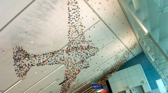 """Mirare"" is a hanging sculpture installation by Stu Scheckter on display at Terminal 3. The county budgeted $5 million for Terminal 3 at McCarran Airport."