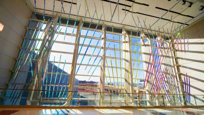 """Rays"" is a window art installation by artist Ed Carpenter on display at Terminal 3. The county budgeted $5 million for Terminal 3 at McCarran Airport."