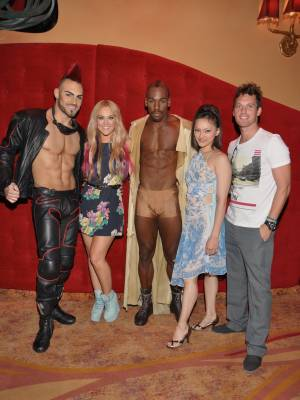 "Lacey Schwimmer, second from left, and Tristan MacManus, right, at ""Zumanity"" in New York-New York on Tuesday, June 26, 2012."