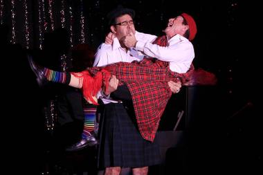 Columnist John Katsilometes plays comedian Martin Short like a set of bagpipes during Short's show at the Mirage on Friday, June 29, 2012.
