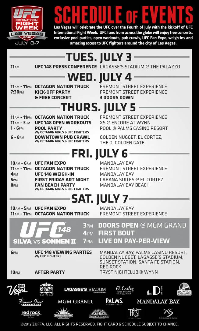 A schedule of events for International Fight Week based around UFC 148