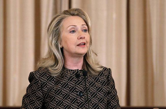 In this June 12, 2012, file photo, Secretary of State Hillary Rodham Clinton speaks at the State Department in Washington.
