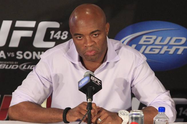 UFC middleweight champion Anderson Silva takes part in a news conference to promote his bout against Chael Sonnen at UFC 148 Tuesday, July 3, 2012.