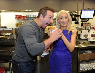 Joey Fatone and Holly Madison attend the Earl of Sandwich grand opening at the Palms on Monday, July 2, 2012.