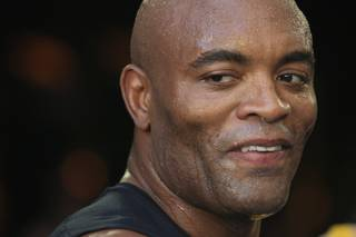 Middleweight champion Anderson Silva smiles during a news conference and media work out Thursday, July 5, 2012 in advance of UFC 148.