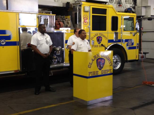 Clark County Fire Chief Bertral Washington speaks during a press conference on Friday during which he asked all valley residents to turn in their unused fireworks to the fire department.