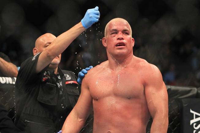 Tito Ortiz gets watered down during his light heavyweight fight against Forrest Griffin at UFC 148 Saturday, July 7, 2012 at the MGM Grand Garden Arena. Griffin won a unanimous decision in what was Ortiz's retirement fight.