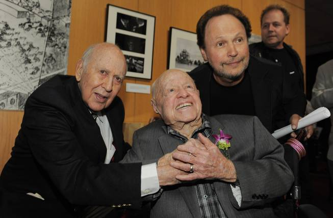"Moderator Billy Crystal, right, poses with ""It's a Mad, Mad, Mad, Mad World"" cast members Carl Reiner, left, and Mickey Rooney at the kick-off of The Last 70mm Film Festival Presented by the Academy of Motion Picture Arts and Sciences, Monday, July 9, 2012, at the Samuel Goldwyn Theater in Beverly Hills, Calif."