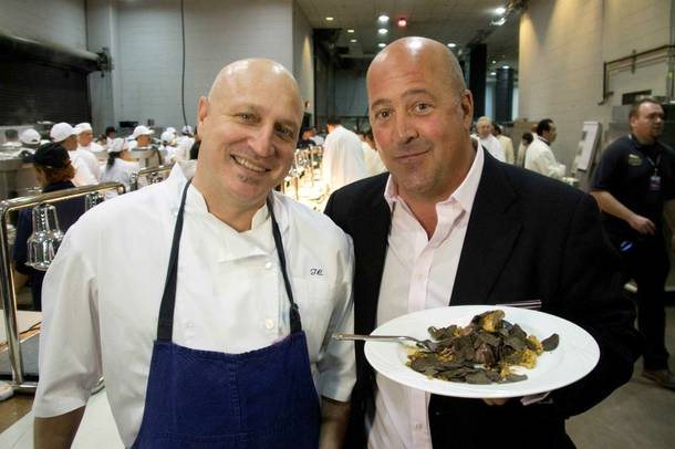 Tom Colicchio and Andrew Zimmern, pictured here at MGM Grand Garden Arena, in the 100th episode of Travel Channel's