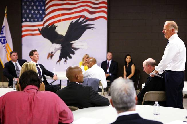 Vice President Joseph Biden visits veterans at the U.S. Vets Career Center in downtown Las Vegas on Tuesday, July 10, 2012.