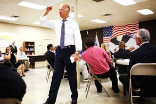 Vice President Joe Biden visits veterans at the U.S. Vets Career Center in downtown Las Vegas on Tuesday, July 10, 2012.