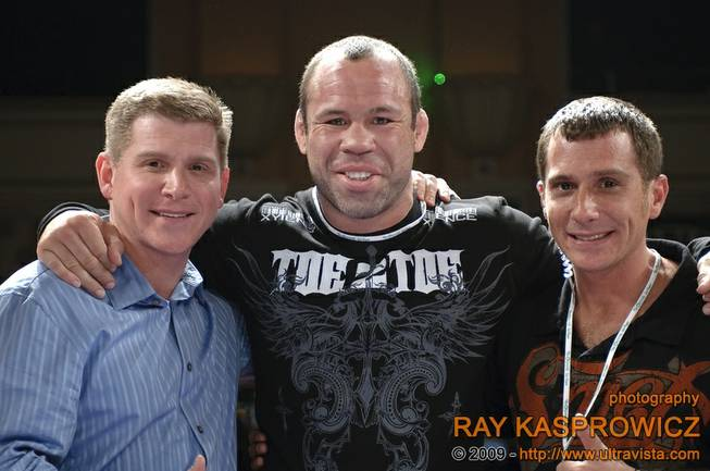 Tuff-N-Uff president Barry Meyer, left, and brother, Jeff, right, pose with UFC fighter Wanderlei Silva after a show at the Orleans in this file photo from 2009.