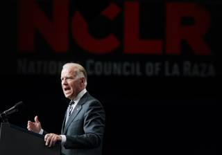 Vice President Joseph Biden delivers the keynote address during the 2012 National Council of La Raza Annual Conference at Mandalay Bay Convention Center in Las Vegas on Tuesday, July 10, 2012.