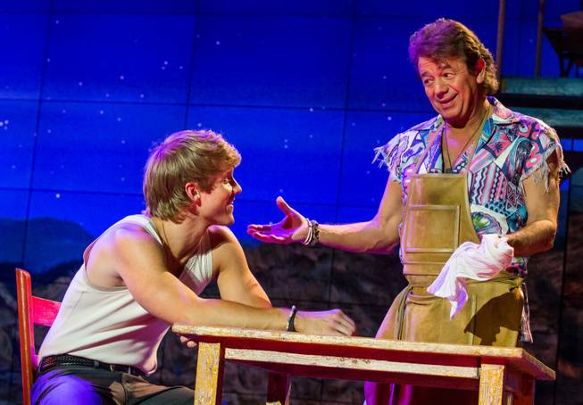 "Marshal Kennedy Carolan as Tanner and Adrian Zmed in a scene from ""Surf the Musical"" at Planet Hollywood."