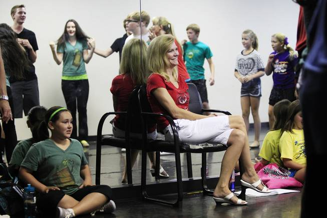 "Marci Riedy watches as Broadway Bound rehearses ""Bye Bye Birdie"" Wednesday, July 11, 2012."